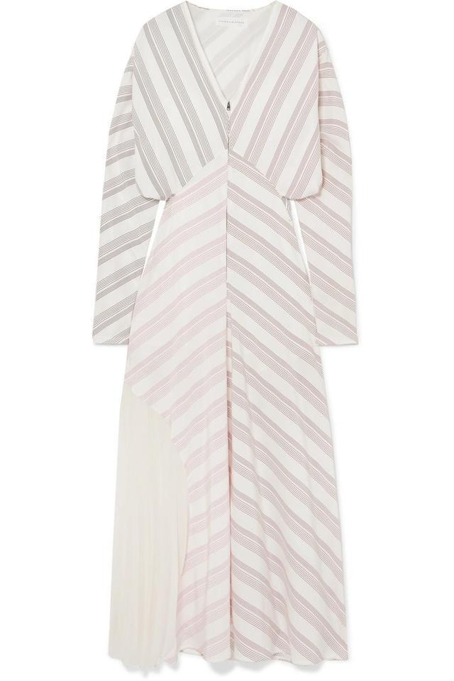Victoria Beckham Paneled Striped Silk and Chiffon Dress
