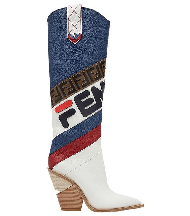 Fendi FendiMania Pointed Toe Cowboy Boots