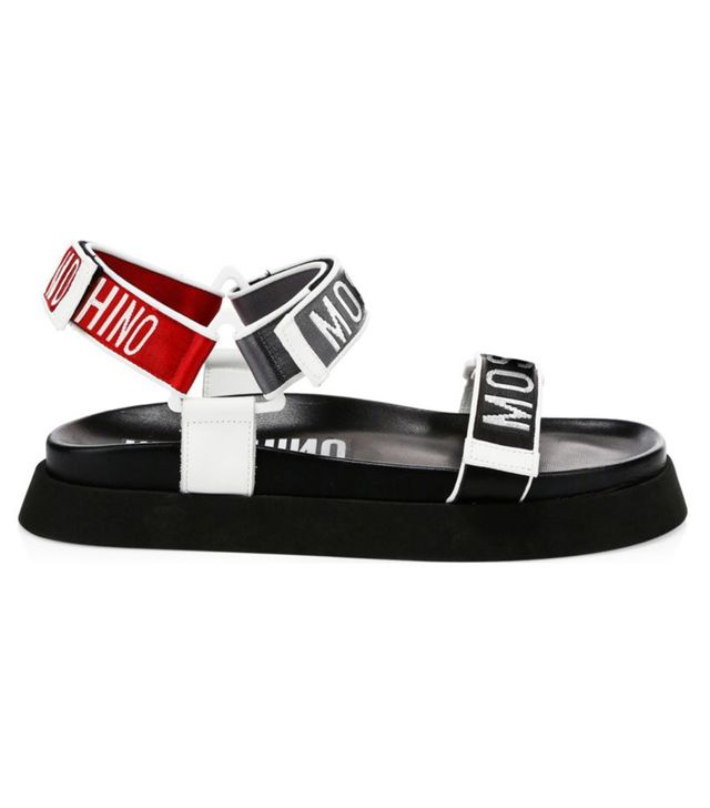 Moschino Logo Flat Slingback Sandals