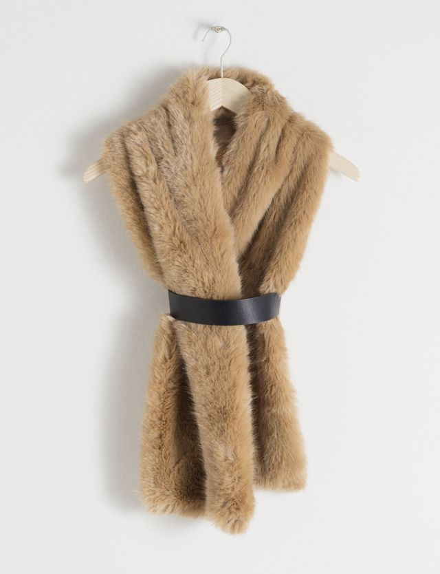 & Other Stories Belted Faux Fur Stole