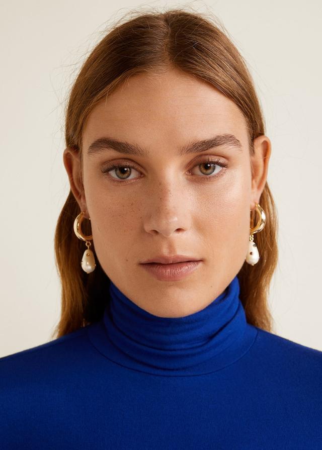 Mango Pearl Hoops Earrings