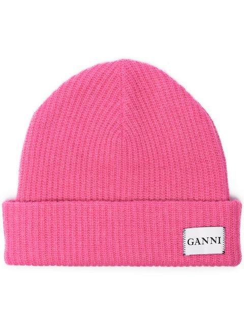 Ganni Pink Knitted Logo Beanie