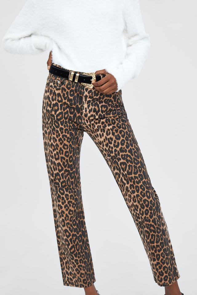 Zara Animal Print Jeans