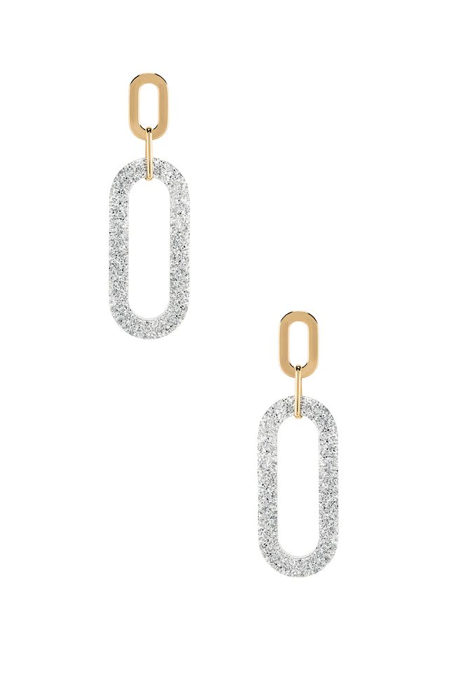 Rebecca Minkoff Glitter Double Resin Link Hoops