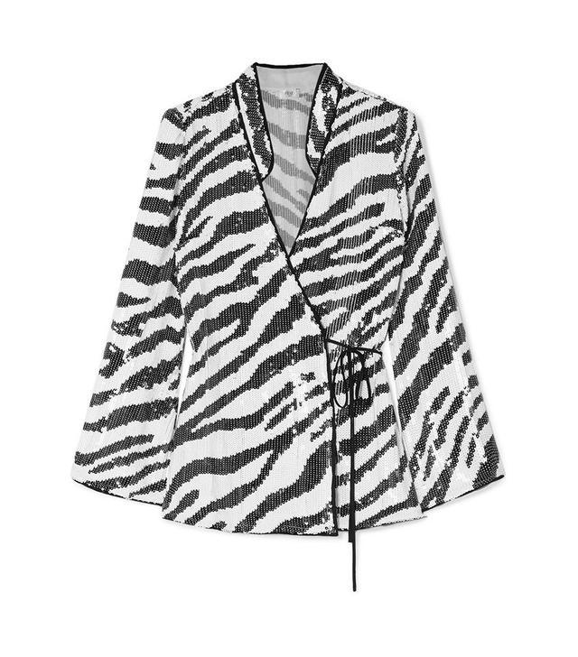 Rixo Blossom Tiger-Print Sequined Top