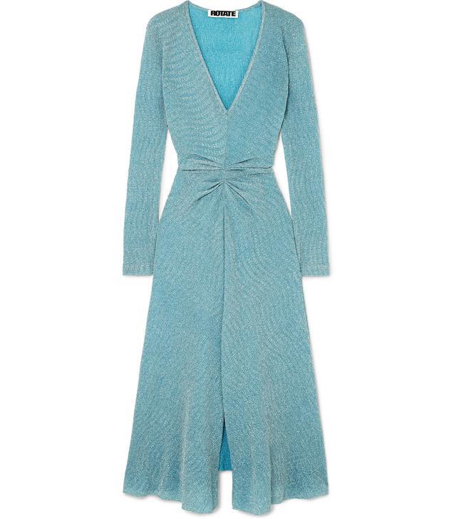 Rotate Gathered Metallic Stretch-Knit Midi Dress