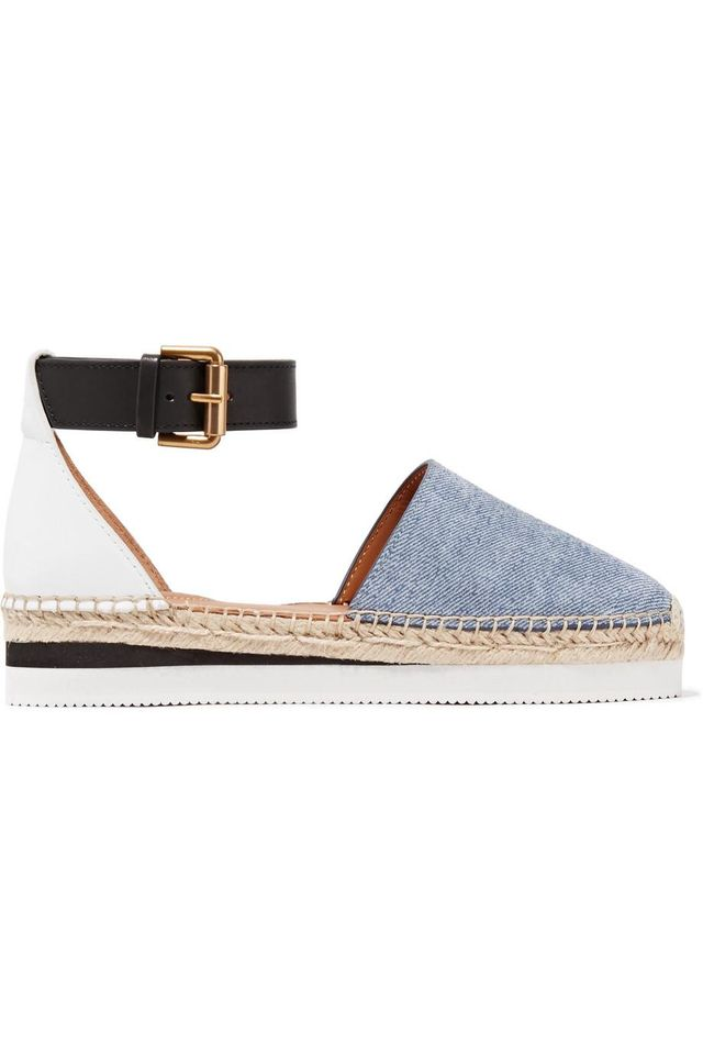 See by Chloé Leather and Denim Platform Espadrilles