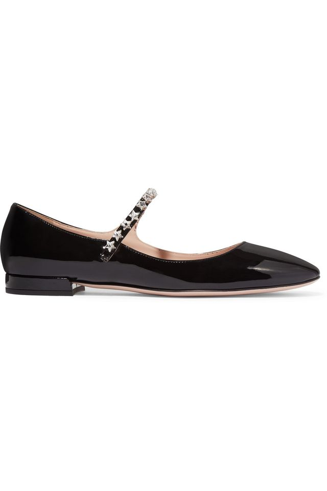 Miu Miu Crystal-Embellished Patent-Leather Mary Jane Ballet Flats