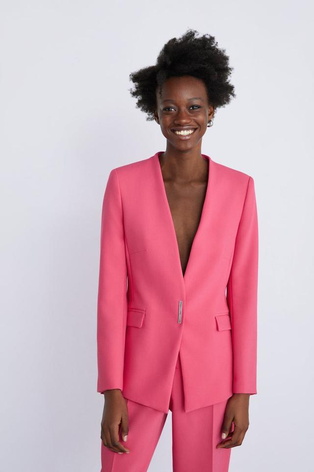 Zara Pink Blazer With Pockets