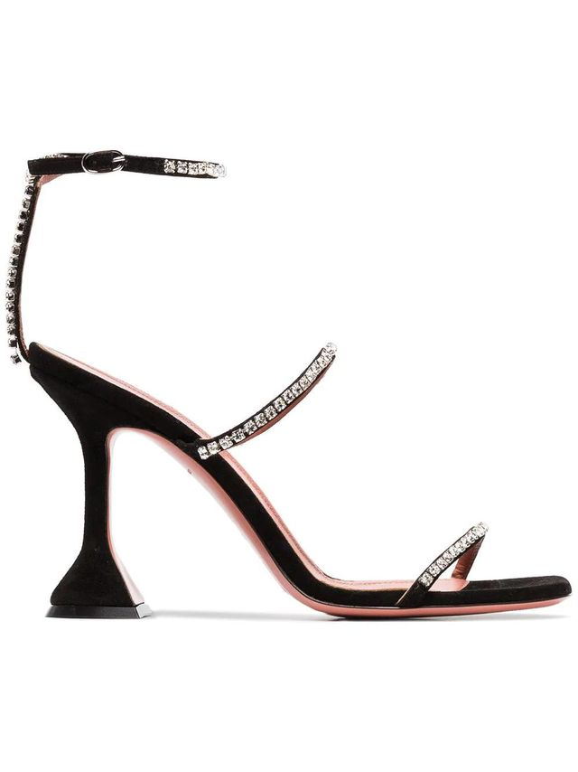 Amina Muaddi Gilda 95 Logo Embossed and Crystal Detail Sandals