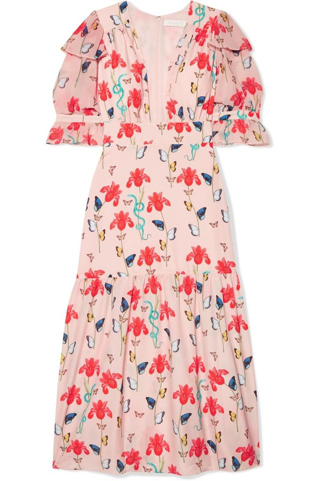 Borgo de Nor Dahlia Printed Crepe de Chine Midi Dress