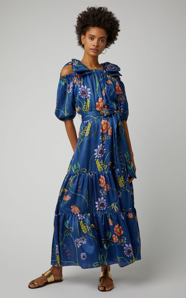 Borgo de Nor Rosa Floral-Print Silk-Georgette Maxi Dress