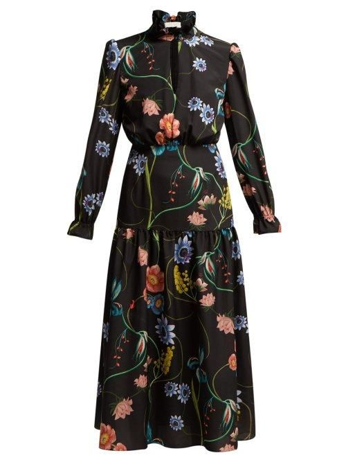 Borgo de Nor Eugenia Floral Print Crepe Dress
