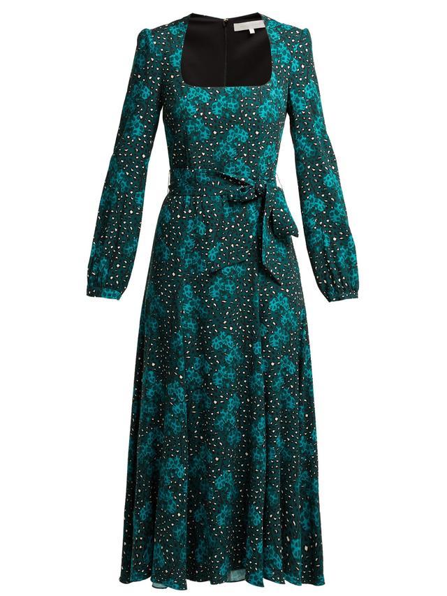 Borgo de Nor Annabella Orchid and Leopard Print Midi Dress