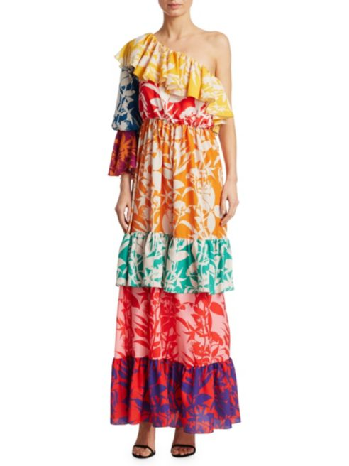 Borgo de Nor Penelope One-Shoulder Silk Ruffle Dress