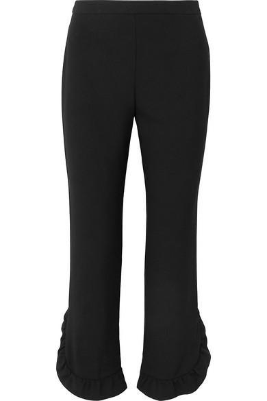 Prada Cropped Ruffle Straight Leg Pants
