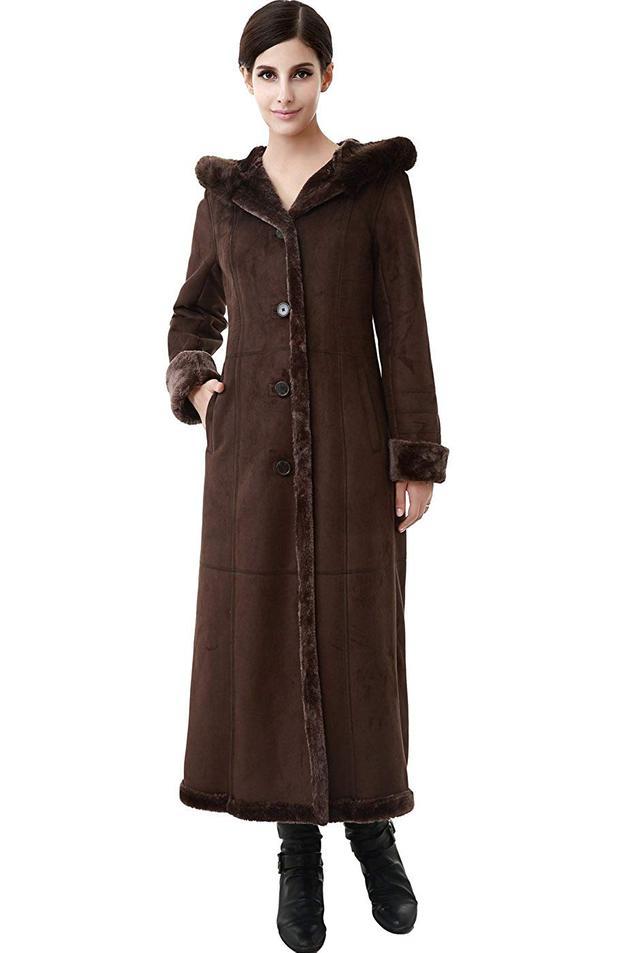 BGSD Pauline Hooded Faux Shearling Maxi Coat