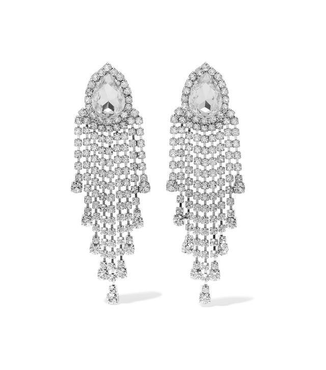 Alessandra Rich Silver-Tone Crystal Clip Earrings