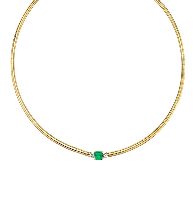 The Last Line Diamond and Emerald Deco Darling Necklace
