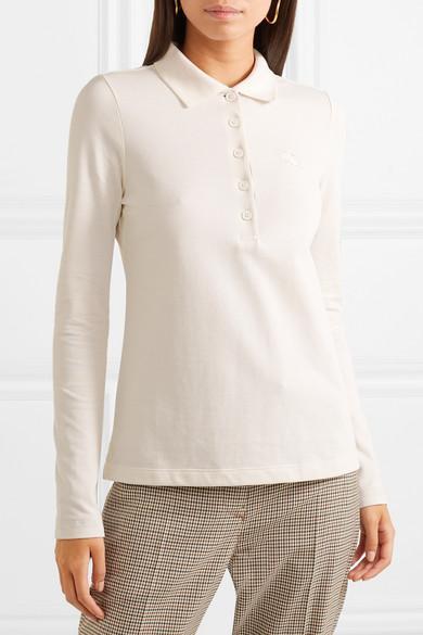 Burberry Embroidered Cotton-Piqué Polo Shirt