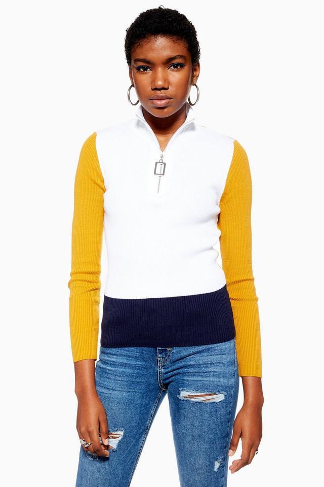 Topshop Zip Color Block Knitted Jumper