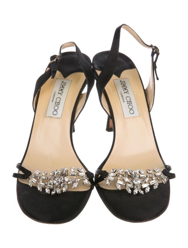 Jimmy Choo Embellished Satin Sandals