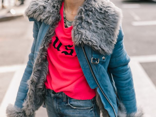 Winter trends to wear with skinny jeans: Jessica Minkoff's shearling jacket