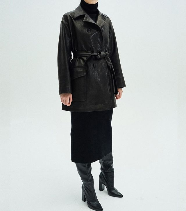 Mardi Mercredi Lambskin Leather Coat Black