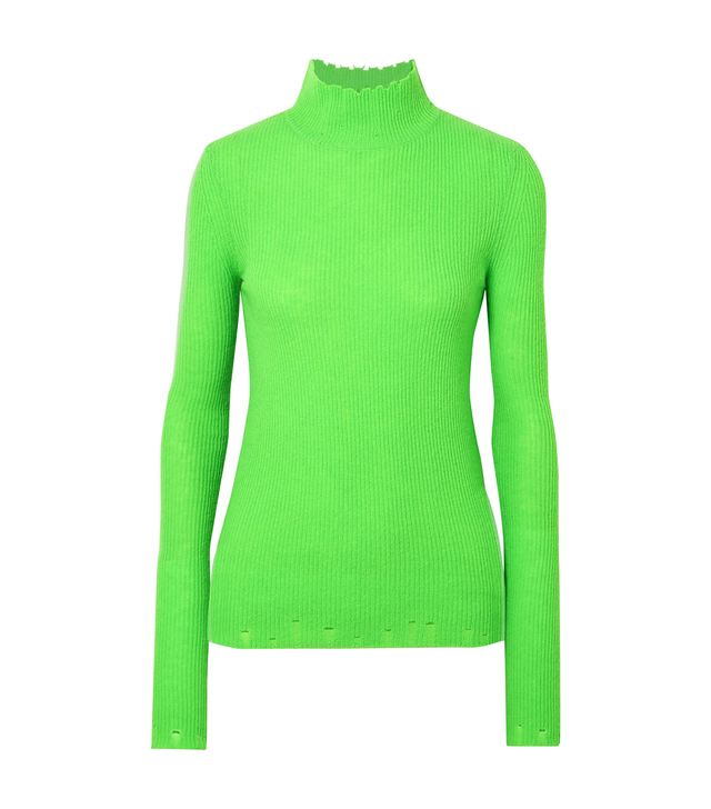 Les Reveries Distressed Ribbed Cashmere Turtleneck Sweater
