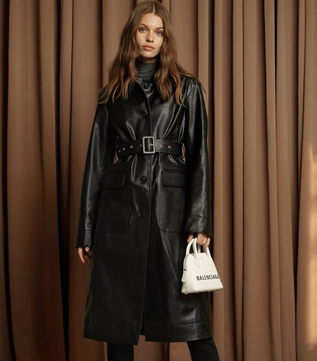 Pixie Market Black Vegan Leather Trench Coat