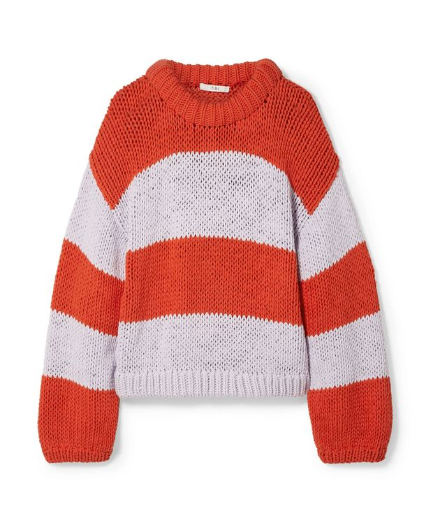 Tibi Oversized Striped Cotton-Blend Sweater