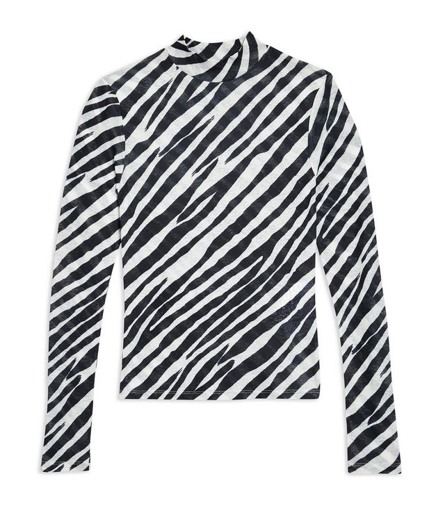 Topshop Zebra Print Long Sleeve Top