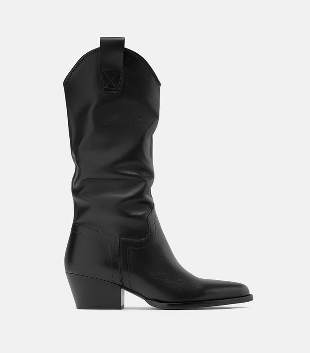 Zara Heeled Leather Cowboy Boots