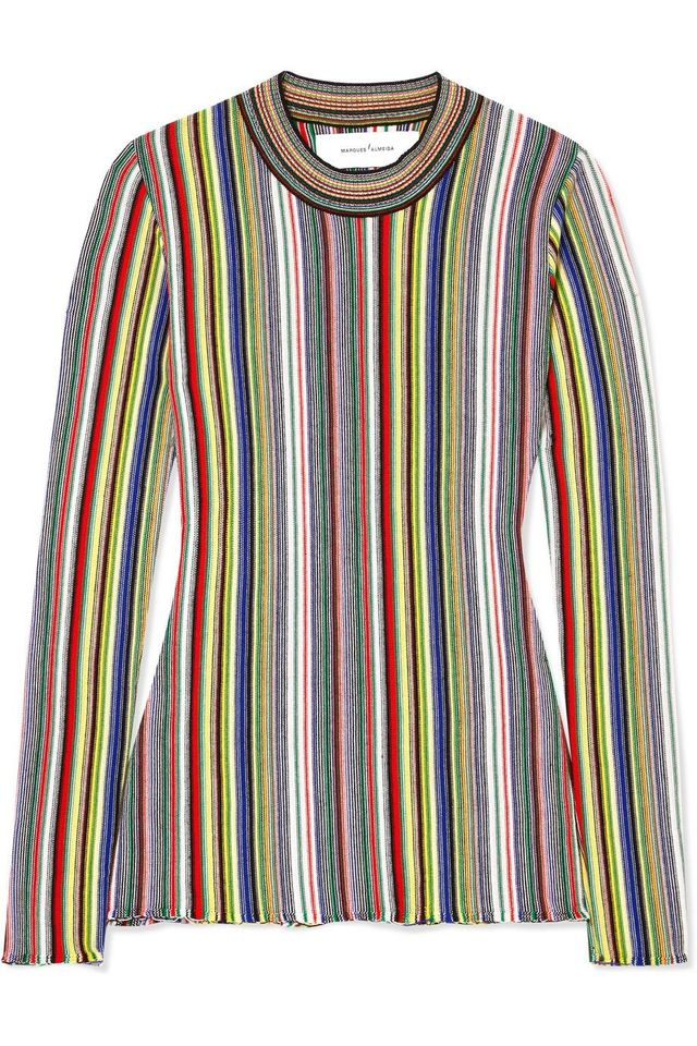 Marques'Almeida Striped Crocheted Merino Wool Top
