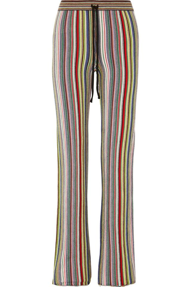 Marques'Almeida Striped Crocheted Merino Wool Straight-Leg Pants