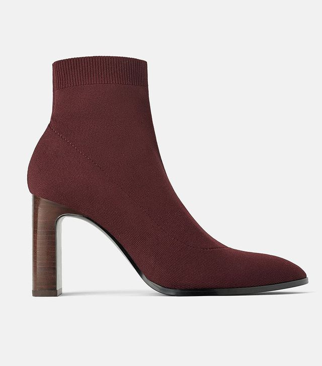 Zara Heeled Sock-Style Ankle Boots