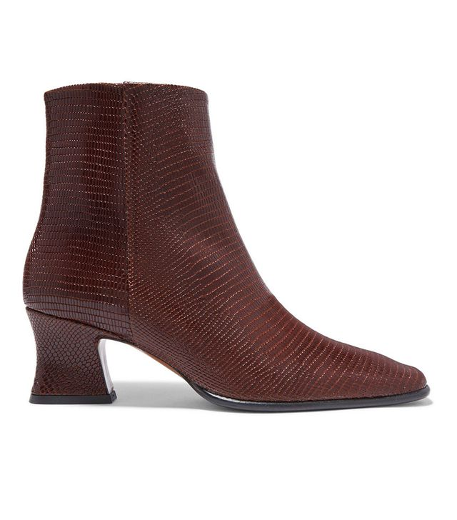By Far Naomi Lizard-Effect Leather Ankle Boots