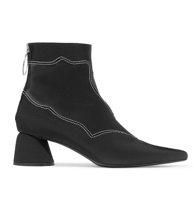 Ellery Embroidered Stretch-Faille and Satin Ankle Boots