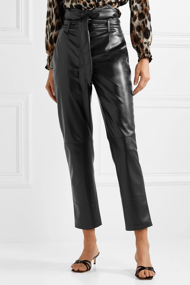 Nanushka Ethan Belted Vegan Leather Straight-Leg Pants