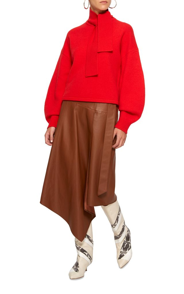 Tibi Draped Asymmetric Leather Midi Skirt