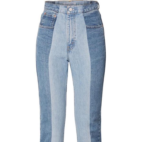 E.L.V. Denim The Twin Two-Tone High-Rise Straight-Leg Jeans
