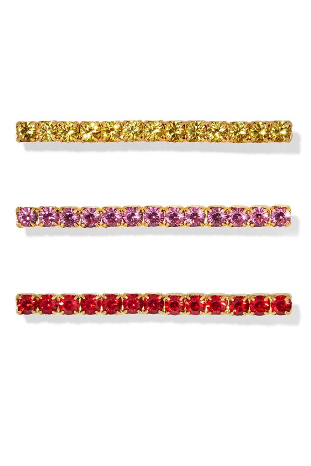 Jennifer Behr Fete Set of Three Gold-Tone Crystal Hair Pins