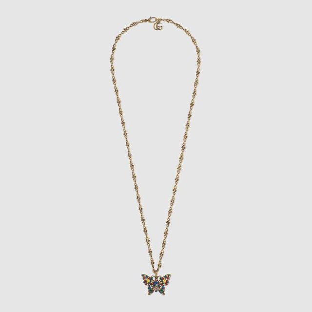Gucci Crystal studded butterfly necklace