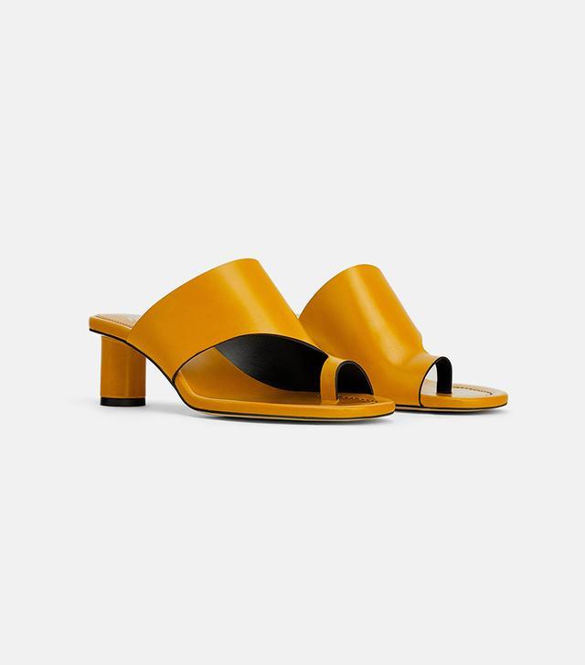 Zara Round Heeled Leather Mules
