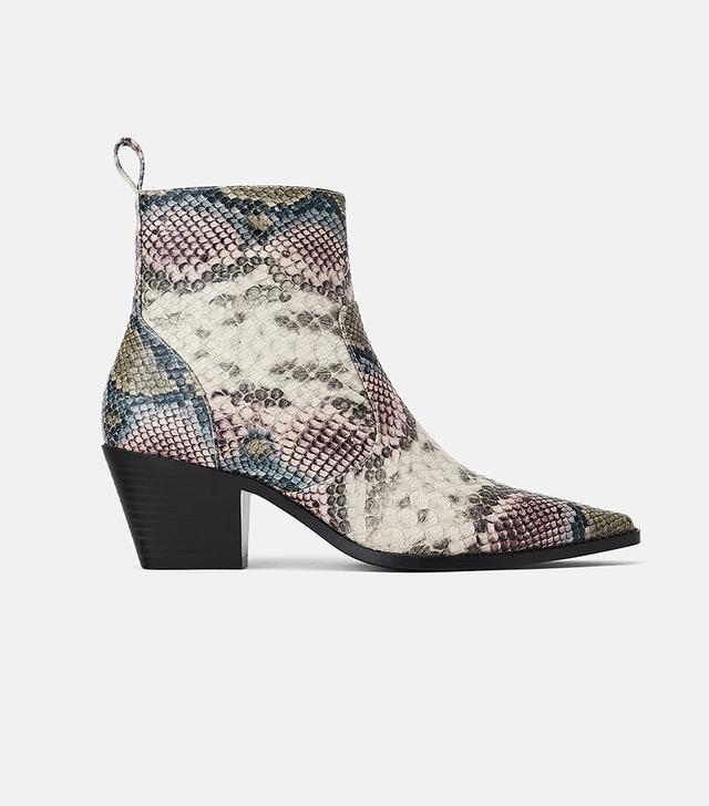 Zara Animal Print Cowboy Heeled Ankle Boots