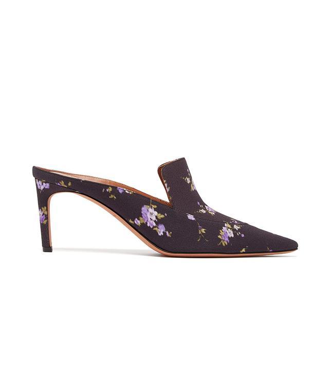 Altuzarra Davidson Floral-Print Silk Mules