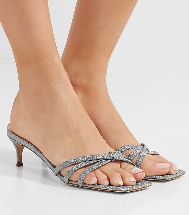 By Far Libra Glittered Leather Sandals