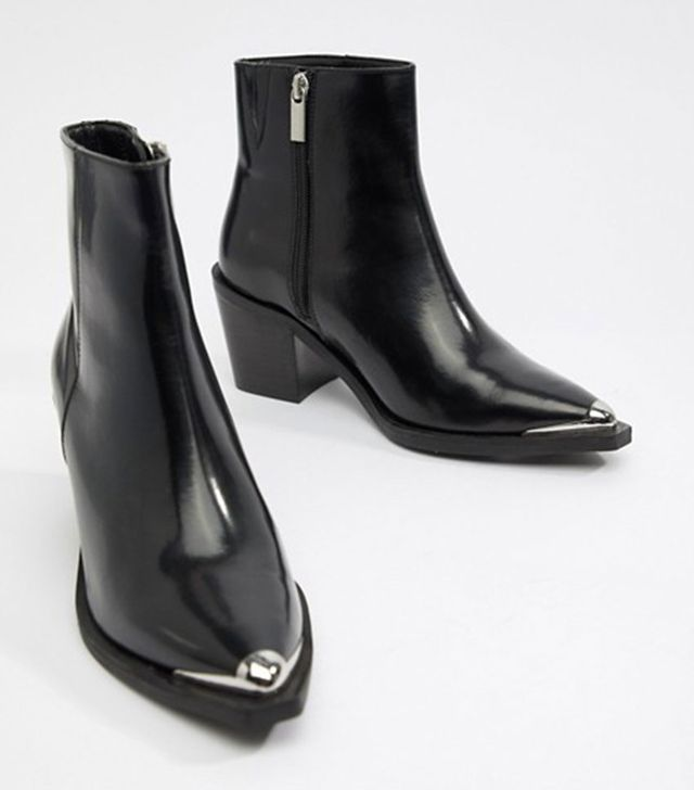 ASOS Design Razer Leather Western Ankle Boots