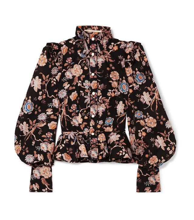 Anna Mason Laila Floral-Print Cotton-Poplin Blouse
