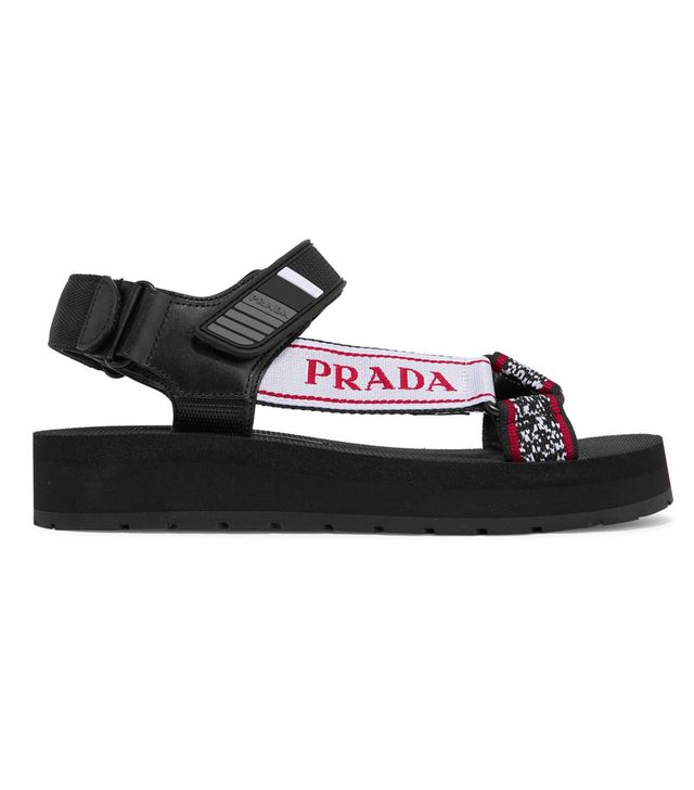 Prada Logo-Detailed Leather, Canvas and Rubber Sandals
